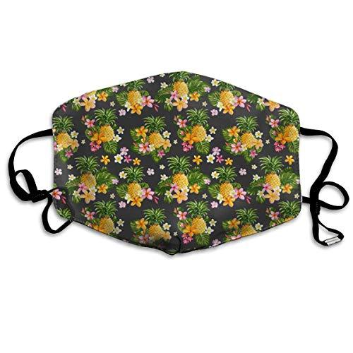 HUIDE Nueva flor tropical de piña tropical verde de plátano hojas de flores, decoración facial, protección contra el polvo, funda para la cara, funda protectora contra el polvo