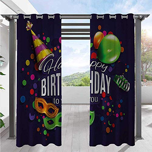 Adorise Indoor Outdoor Curtains Colorful Balloons Curling Ribbons Carnival Party Hat Confetti Desgin Print Home Fashion Window Panel Drapes Used in Hardtop Gazebo Multicolor W72 x L84 Inch