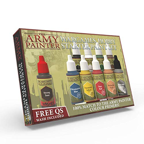 The Army Painter Warpaints Starter Paint Set, 10 Acrylic Paints and 1 Starter Brush for beginners in Wargames Miniature Model Painting