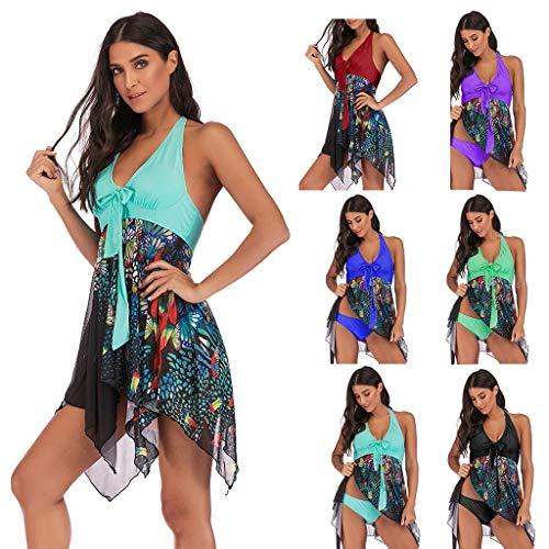 KEERADS Damen 2 pieces women's floral print plus size bikini set summer bikini tankini swim dress swimsuit beachwear padded swimwear women swimsuits beach swimsuits - Black - Large