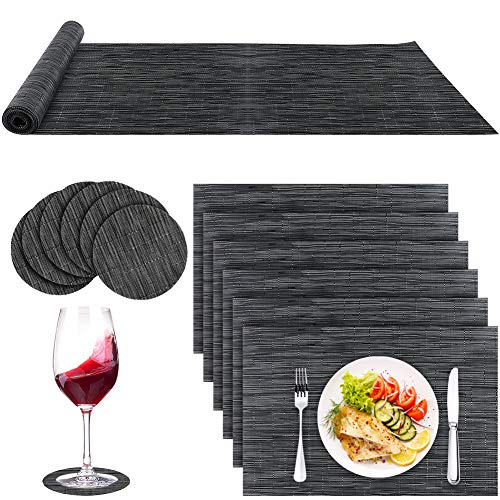 13PCS Black Placemats, Table Mat Set with 6 Placemats + 6 Coasters + 1 Table Runner, Non Slip Table Mats and Coaster Set, Heat Resistant Washable Dining Table Mats for Home Kitchen Restaurant Party
