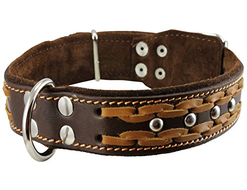 Genuine Leather Braided Studded Dog Collar, Brown 1.5' Wide. Fits 17'-22' Neck.