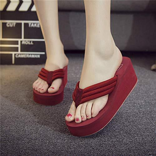 TDYSDYN Zapatillas de casa de Fondo Suave,Zapatos de Plataforma de tacón Alto de Moda, Sandalias y Pantuflas Antideslizantes de Suela Gruesa-Vino Tinto_37,Zapatillas de el hogar cómodas