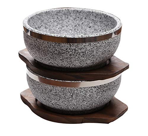 KoreArtStory - Natural Korean Bowl (Set Of 2 + Wood Base 1 More + Bibimbap Recipe With Dolsot Bowls) / Premium Granite Hot Pot For Cooking Korea Soup And Food Stone