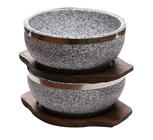 KoreArtStory Dolsot-Bibimbap Stone Bowls 32-Oz(Set of 2 + Wood base 1 More + Bibimbap Recipe) Cooking Korean Soup and Food