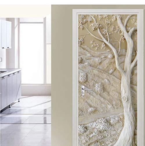 WISOEEP Self-Adhesive Door Sticker 3D Abstract Ancient Tree Wallpaper Living Room Study Wall Sticker PVC Waterproof Door Poster 3D Decal