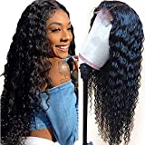 Fuduete Deep Wave 4x1 T Part Lace Front Wigs Human Hair Brazilian Deep Curly Human Hair Wigs for Black Women 150% Density Pre Plucked With Baby Hair Natural Color(4x1 T Part Deep Wig, 14Inch)