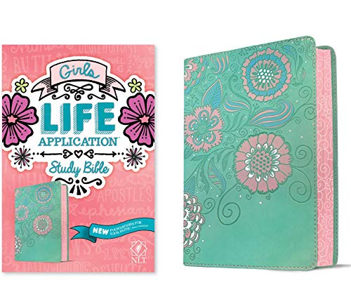 NLT Girls Life Application Study Bible (LeatherLike, Teal/Pink Flowers)