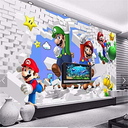 Fototapete Hintergrund 3d TapetenBenutzerdefinierte Tapete für Kinder. Super Mario Animation, moderne 3D-Wandbilder für Wohnzimmer Sofa Kinderzimmer Wand Vinyl Tapete-About200 * 140cm