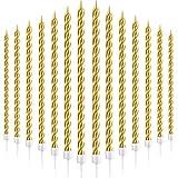 30 Stücke Geburtstag Kerzen Spiral Kuchen Kerzen Metallisch Cupcake Kerzen Lange Dünne Kuchen Kerzen in Haltern für Geburtstag Hochzeit Party Kuchen Dekorationen (Gold)
