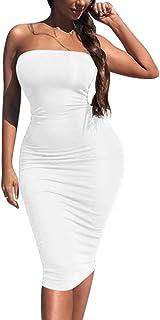 Kaximil Women's Sexy Bodycon Strapless Midi Club Tube Dress Basic Casual Dresses