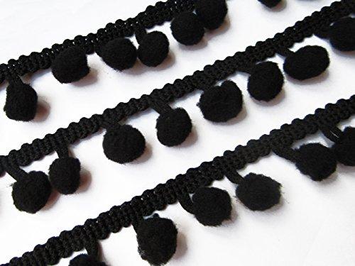 YYCRAFT 4,5 m langes, fransiges Band mit Pompon-Bällen in Regenbogenfarben, zum Nähen geeignet Schwarze Zinny-Pompons.