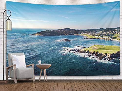 Douecish Big Decoration View The Pebble Beach Golf Course Point Rocks in California Arrowhead Pescadero Monterey for Bedroom Living Room Decor Wall Hanging,Clear Red