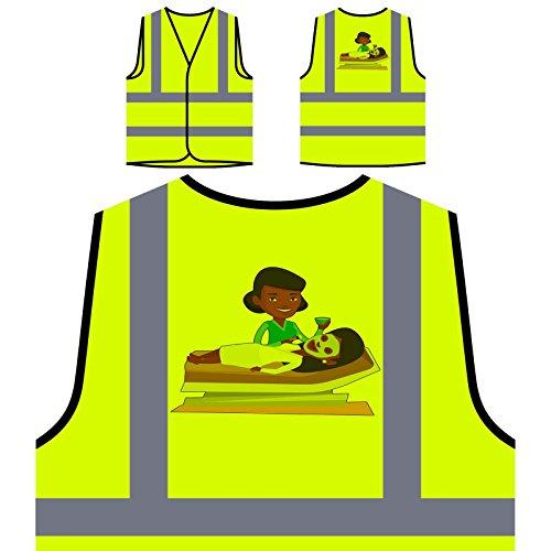 Kosmetikerin Maske Personalisierte High Visibility Gelbe Sicherheitsjacke Weste q613v