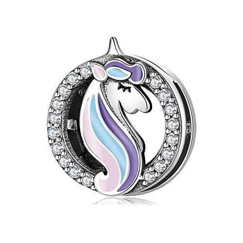 CHARMLOVER Charm Unicornio con Cristales - Abalorio de Clip Compatible con Pandora Reflexions - Plata de Ley 925 - Pulsera de Mujer - Incluye Bolsita de Regalo