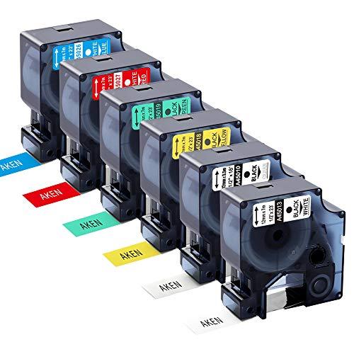 Aken kompatibel Dymo D1 Etiketten 12 mm x 7 m Ersatz für DYMO 45010 45013 45018 45019 45026 45027 für Dymo LabelManager 160 210D 360D 280 420P, 6 Farben