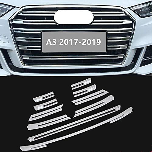 ZCDMNB 10 Unids/Set De Tiras De Cubierta Decorativas De Rejilla Frontal, Ajuste Adecuado para Audi A3 2017 2018 2019 Pegatinas De Decoración De Parachoques, Material Cromado Abs Estilo De