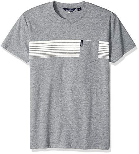 Ben Sherman Men's Chest Stripes Styled TEE, Grey, L
