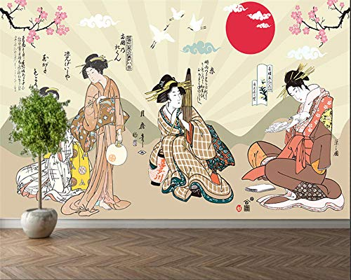 Papel Pintado 3D Murales Geisha japonesa- Fotomurales Para Salón Natural Landscape Foto Mural Pared, Dormitorio Corredor Oficina Moderno Festival Mural 200X175CM