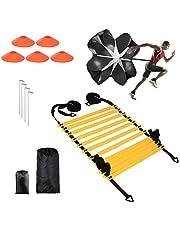 Bilisder Speed & Agility Training Kit 12 Rungs Verstelbare Voetbal Training Ladder, Weerstand Hardlopen Parachute, Sport Kegels, Metalen Pegs & Draagtas voor Kinderen en volwassenen