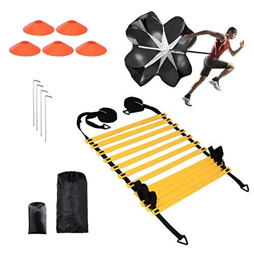 Koordinationsleiter für Fußball, Agility Trainingsset Trainingsleiter, Widerstands Fallschirm, Metallnägel & Tragetasche,Scheibenkegel für Sportler, Trainer, Kinder