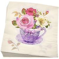 Kesheng 20pcs Servilletas de Papel de Flores para Fiesta de Boda y Cumpleaños