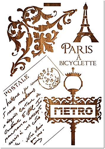 Boutique d'isacrea Schablone aus Mylar, Format A4 (21 x 29,7 cm) Paris 1912
