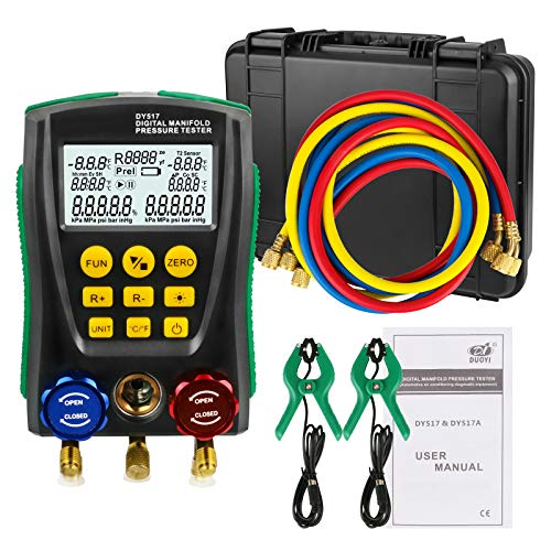 Sistema HVAC Manómetro de refrigerante AUTOAND, Aire Acondicionado Diagnóstico Meter Herramienta Kit con Tubería de Clip de Prueba y Caja de Almacenamiento