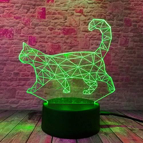 Veilleuse 3D Colorée Walking Cat 7 Couleurs Variable Rvb Lampe Lampe Table Bureau Maison Famille Famille Famille Noël Jeu Cadeaux De Noël
