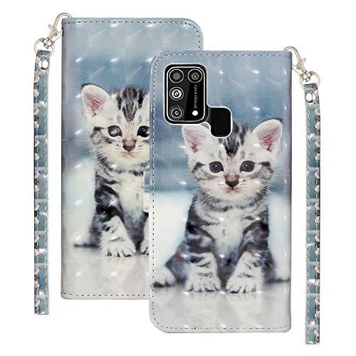 Bling Glossy Wallet für Samsung Galaxy M31 5G Stilvolle Farbe Handyhülle 3D Sparkly Shockproof Flip Tasche Hülle Süße Katze Muster mit Handschlaufe Kartentaschen Halter für Samsung Galaxy M31 5G