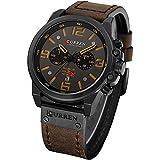 Military Watches for Men Men's Leather Strap Analog Quartz Wristwatch Fashion Sport Watch for Men Chronograph Date CAOWTAN (Black Brown)