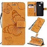 Kunyun Porte-Papillon Floral Floral Motif PU en Cuir Porte-Monnaie Cassette avec Bracelet de Poignet...