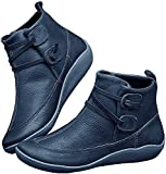 Casual Leather Low Heel Ankle Boots for Women Walking...