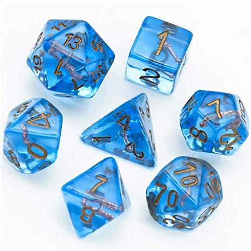 WIZARD - Juego de dados poliédricos de calabozos y dragones, color azul, varita dorada, DND D & D 5e. Kit caótico