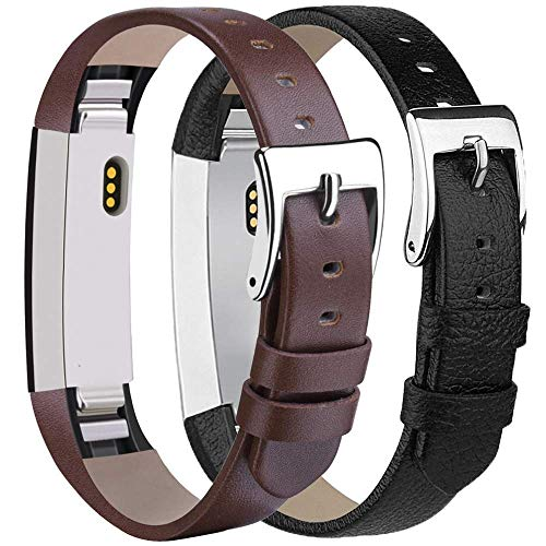 AK Bands Compatible with Fitbit Alta HR Bands, Genuine Leather Adjustable Comfortable Wristbands for Fitbit Alta HR/Fitbit Alta (03 Black/Coffee)