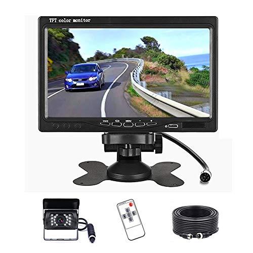 Auto-Rückfahrkamera - Kabelgebundenes Rückfahrkamera- und Monitorset für IR-Nachtsicht, 7-Zoll-HD-Monitor-Rückfahrparksystem für schwere Nutzfahrzeuge von RV Trucks Bus Trailers