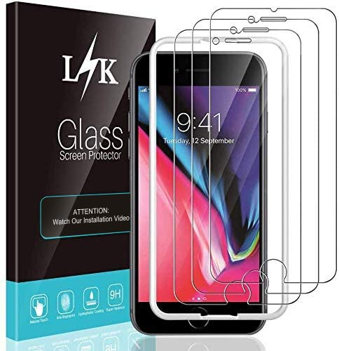 LϟK 3 Stücke Schutzfolie Kompatibel mit iPhone 8 Plus & 7 Plus - 9H Festigkeit 2.5D Abger&ete Ausrichtungsrahmen Einfache Installation Gehärtetem Glas Bildschirmschutzfolie
