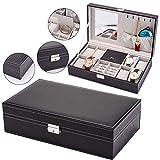Scatola portaoggetti per orologi a 8 bit, scatola per gioielli con orecchino Scatola per orologi Scatola per gioielli con accessori in acciaio inossidabile e cuscino per orologio di grandi dimensioni