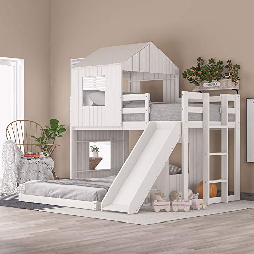 Twin Over Full Bunk Bed Wooden Loft Bed with Playhouse, Farmhouse, Ladder, Slide and Guardrails for Kids, Toddlers, Boys & Girls, No Spring Box Required (White)