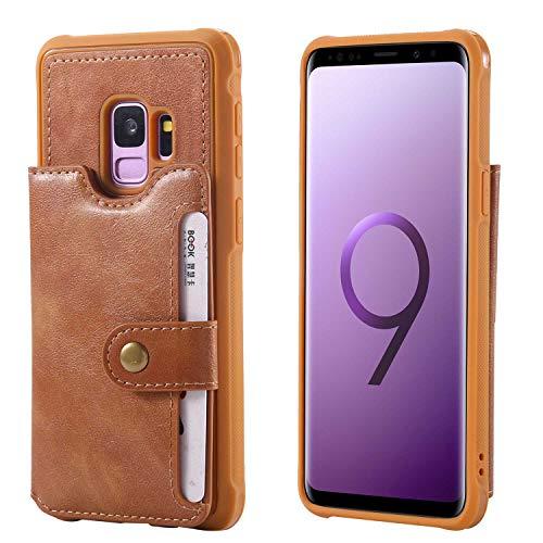 Bear Village Galaxy S9 Hülle, Leder PU Handyhülle für Samsung Galaxy S9, Rückdeckel Schutzhülle Bumper mit Kartenfach und Stand Funktion, Braun