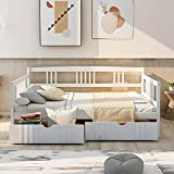 FLIEKS Full Size Wooden Daybed with Two Storage Drawers and 10 Wooden Slats Support (White)