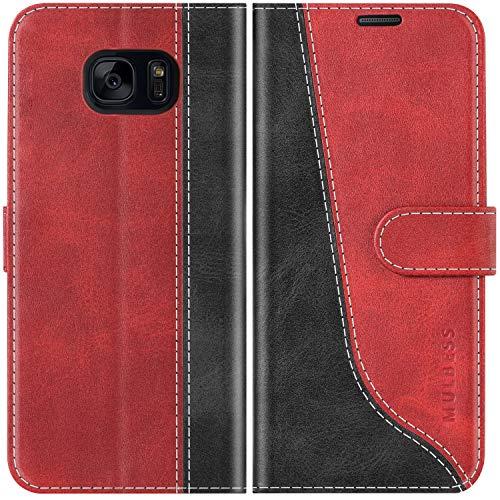 Mulbess Handyhülle für Samsung Galaxy S7 Hülle Leder, Samsung Galaxy S7 Handy Hüllen, Modisch Flip Handytasche Schutzhülle für Samsung Galaxy S7, Wine Rot