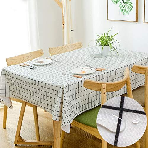 Qucover Mantel Mesa Resinado Antimanchas Impermeable Nórdico Moderno de Plástico PVC de Hule Rectangular Blanco140 x 220cm para Cocina Comedor