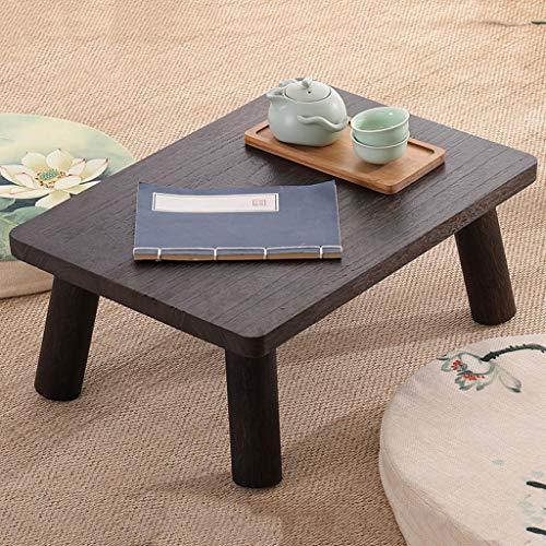 Mesa de té Cuadrada de paulonia Japonesa, fácil de ensamblar Mesa de Tatami de Madera Maciza, Mesa de Centro Baja Simple China para Espacios pequeños (Color : Brown)