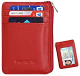 RFID Blocking Sleeves Front Pocket Leather Wallet for Women, RFID Safe Sleeve Mini Card Holder with Zipper and ID Window, Genuine Leather Durable Slim Convenient Wallets, Stopping RFID Scans