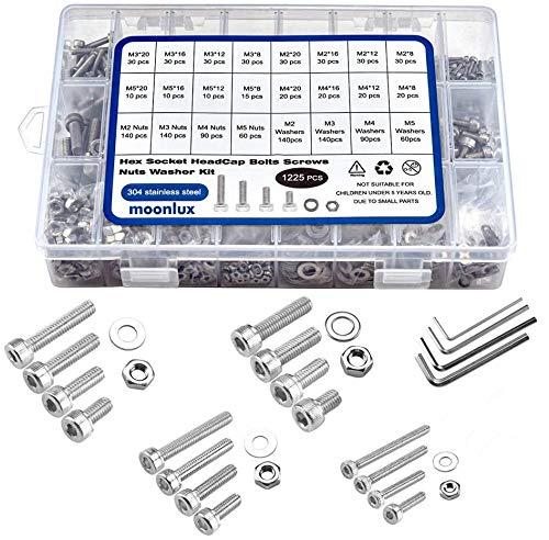 1225 Stück M2 M3 M4 M5 Schrauben Set, moonlux 304 Edelstah Schrauben Muttern und Unterlegscheiben Sortiment Kit Sechskantschrauben mit Aufbewahrungsbox + Schraubenschlüssel