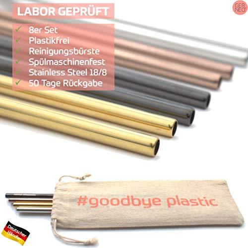 GERNEO® - Laboratorietestad – sugrör återanvändbara 304 rostfritt stål – set med 8 rengöringsborste Togo Bag – Returrätt, barnsäker, miljövänlig och plastfri (färgmix-rak-8 mm)