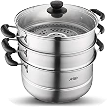 JLCK Steamer Stainless Steel Three-layer Thickening Home Complex Bottom 28cm Stewer Steamer Universal 3 Layer Pot (Color :...