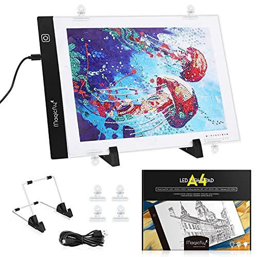 Magicfly Tablette Lumineuse LED A4 pour Peinture au Diamant 5D, Kit de Tableau d'Eclairage Dimmable avec Câble USB, pour DIY Dessin, Gaufrage, Pochoir, Conceptio