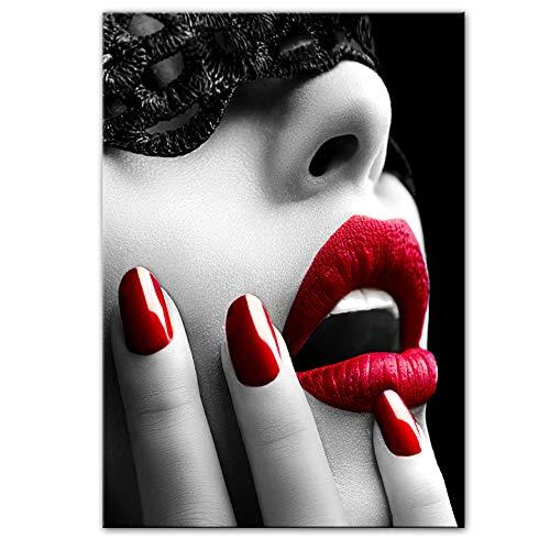 NIEMENGZHEN Abstrakte Make-up-Mädchen Leinwandbilder an der Wand Kunst Poster und Drucke Sexy Lippen Leinwand Kunst Bilder für Wohnzimmer 50x70cm ohne Rahmen